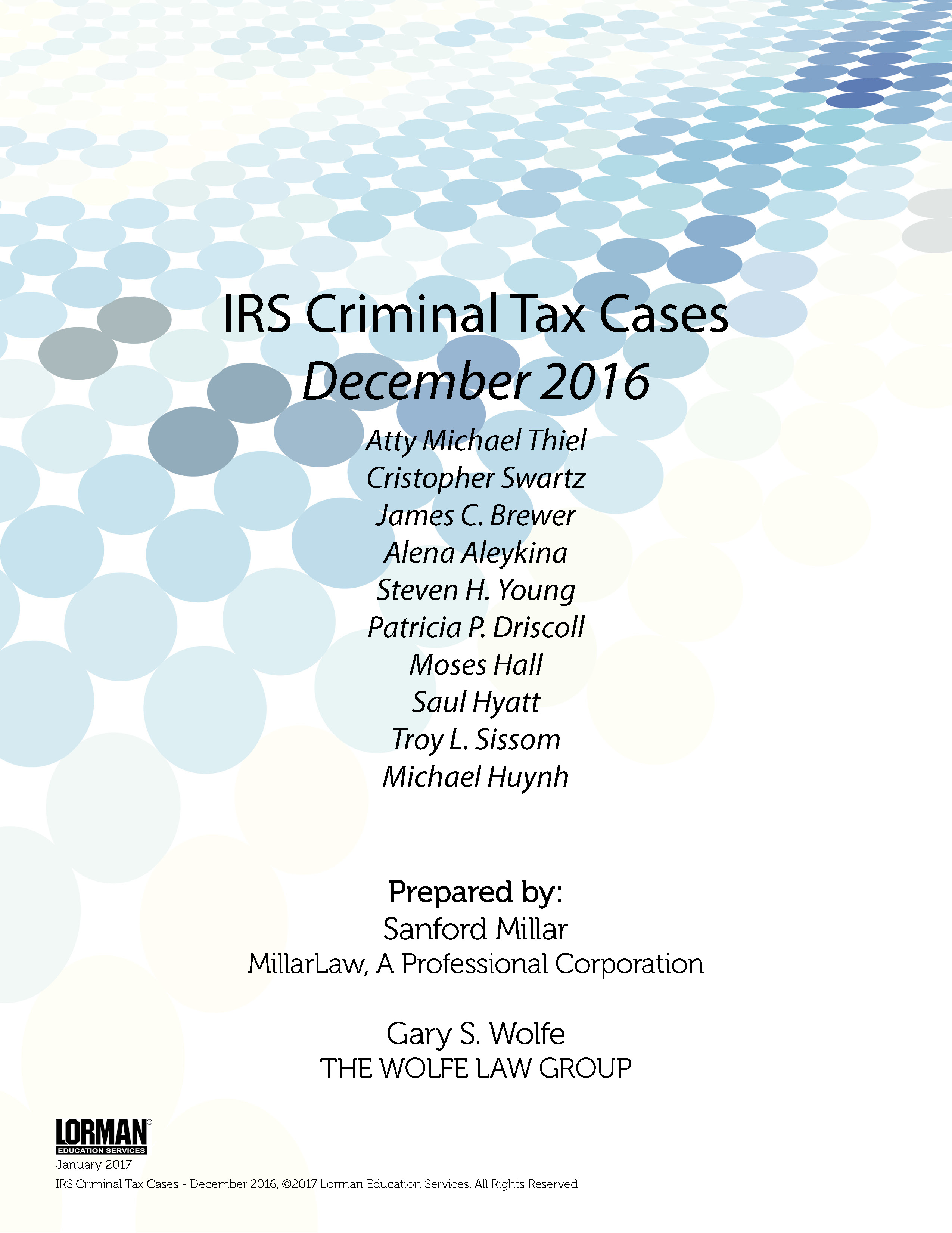 IRS Criminal Tax Cases - December 2016