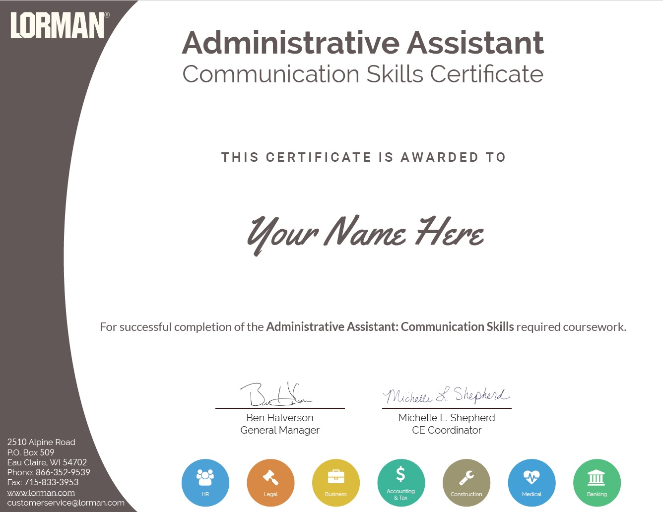 Continuing education certificates lorman education services human resource employee management certificate xflitez Image collections