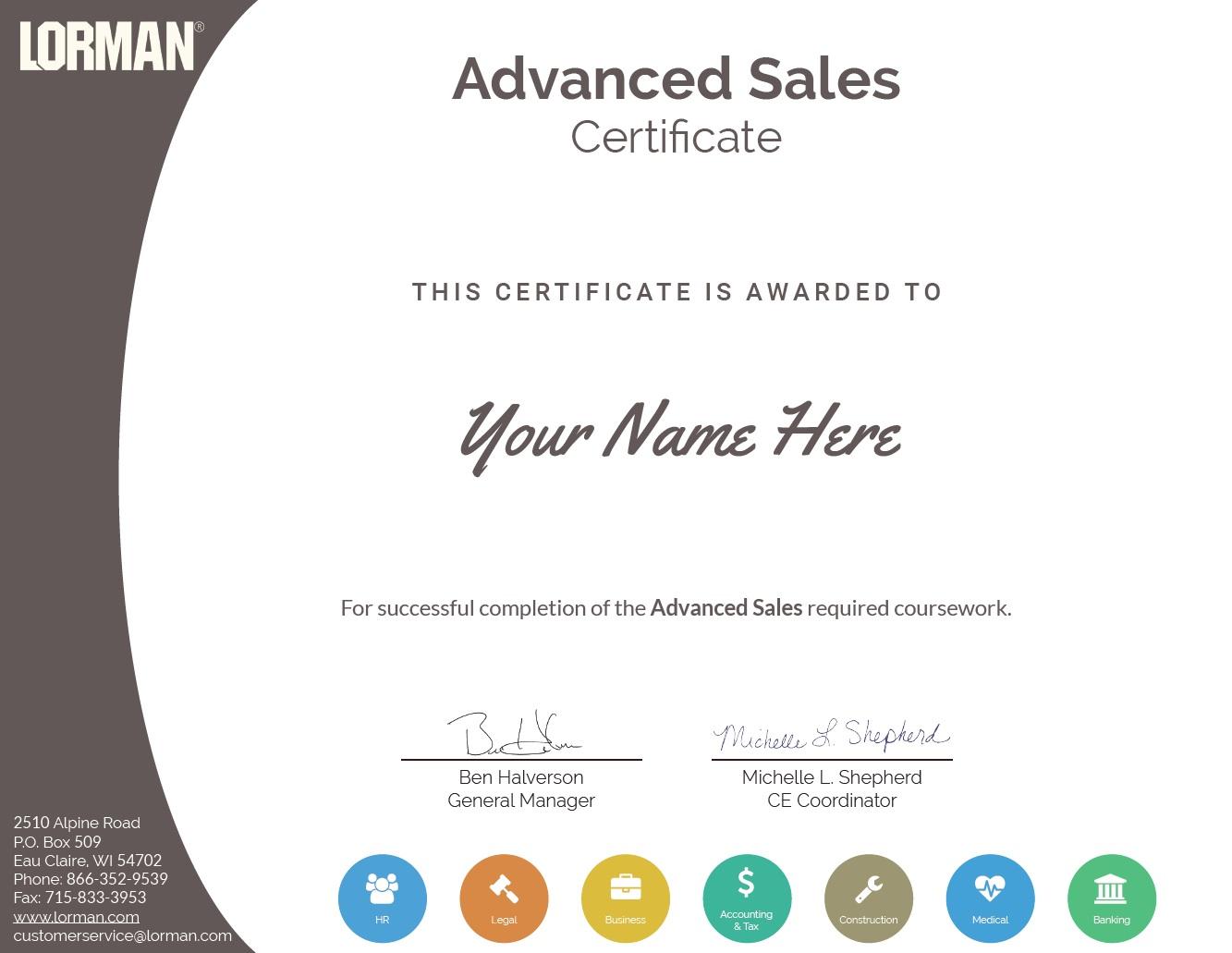 Advanced Sales Certificate