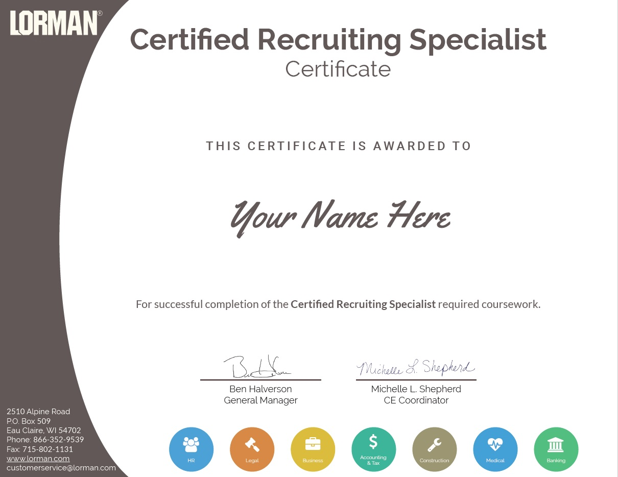 Certified Recruiting Specialist Lorman Education Services